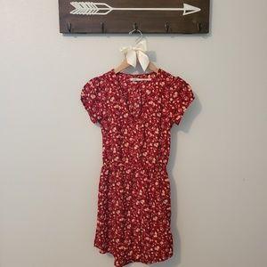 Kimchi Blue Red Floral Shirt Dress